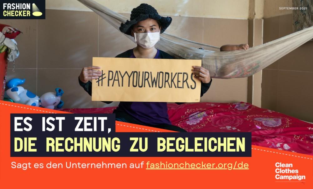 Relaunch des Fashion Checkers: Keines der untersuchten Modeunternehmen garantiert, dass die Arbeiter*innen in ihrer Lieferkette auch während der Pandemie den gleichen Lohn erhalten