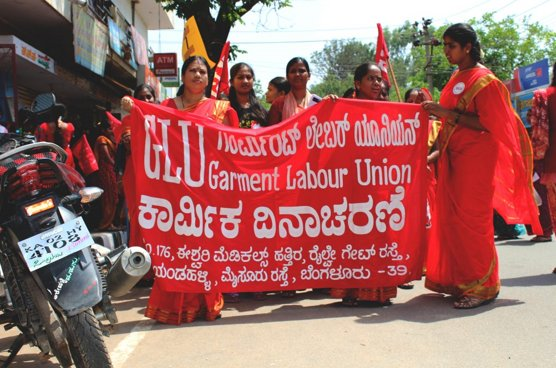 Demonstrationen am Tag der Arbeit in Bangalore. Foto: © Sanjita Majumder/Cividep