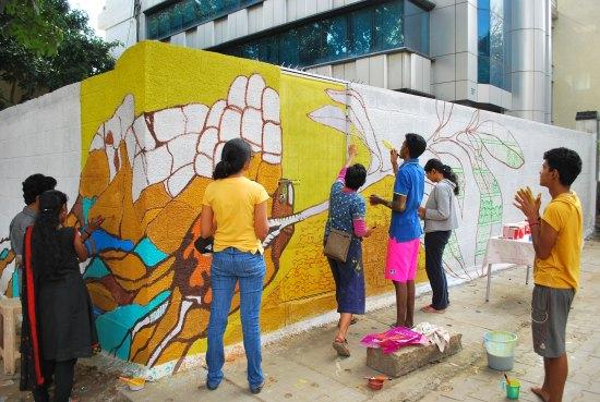 Kunstprojekt in Bangalore. Foto: © Regina Weidental