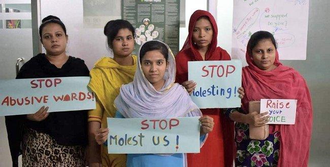 Näherinnen fordern ihr Recht ein auf ein gewaltfreies Arbeitsumfeld. © BCWS