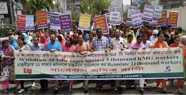 Textilarbeiter_innen protestieren gegen die Entlassungen, Verhaftungen und Prozesse. Foto: © NGWF