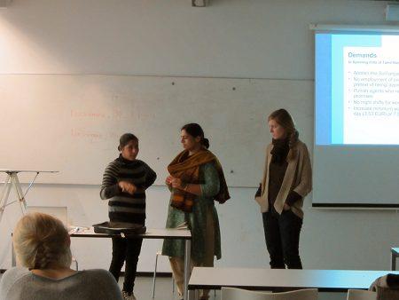 Vortrag von Maheshwari Murugan und Anita Cheria vor den Studierenden der Universität Hannover