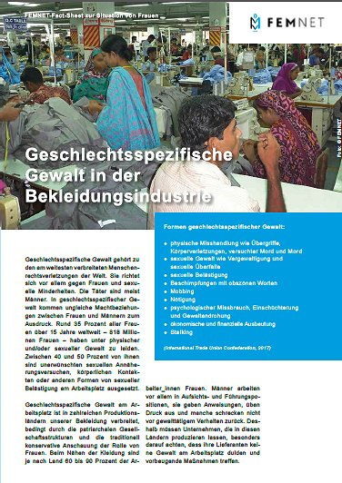 Cover FEMNET FactSheet Gendergewalt. © FEMNET