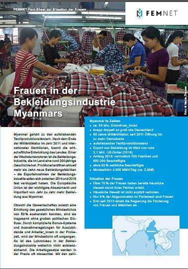 Cover FactSheet Myanmar. © FEMNET